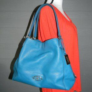 Coach EDIE TEAL BLUE GORGEOUS LEATHER SHOULDER BAG